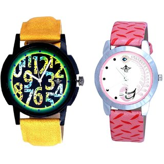 Yellow Luxury Strap And Pink Peacock Feathers Girls Analogue Watch By SCK