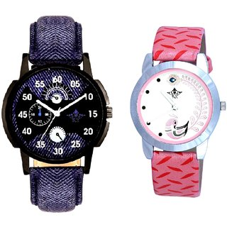 Cronograph Blue Leather Strap And Pink Peacock Feathers Girls Analogue Watch By SCK