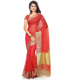 Florence Red Cotton Silk Plain Saree With Blouse