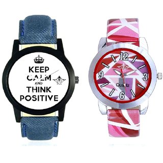Super Power Of Positive Thinking Round Dial And Pink Sep Leather Strap  Analogue Watch By SCK
