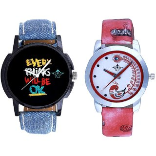 Black Dial Multi Print And Red Leather Strap Analogue Watch By SCK