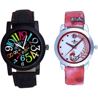 Black Dial Multi Colour Digit And Red Leather Strap Analogue Watch By SCK