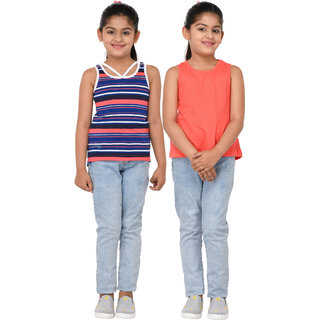 Grand Derby Girls Multicolor Striped & Plain Top Pack Of 2
