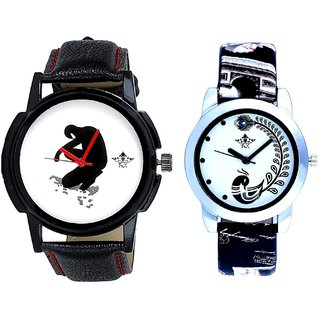 Boken Heart Man And Black Leather Strap Analogue Watch By SCK