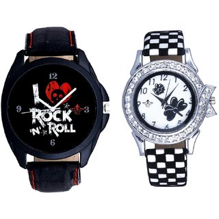 Rock N Roll Dial And Black-White Flowers Leather Strap Analogue Watch By SCK