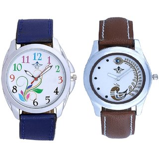 Flowers Multi Colour And Brown Leather Strap Analogue Watch By SCK
