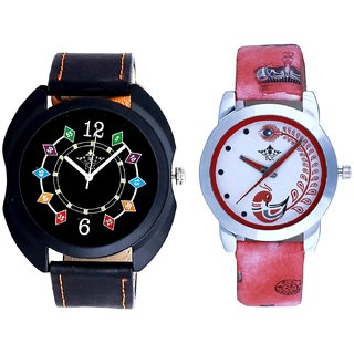 Black Dial Chain Digits And Red Leather Strap Analogue Watch By SCK