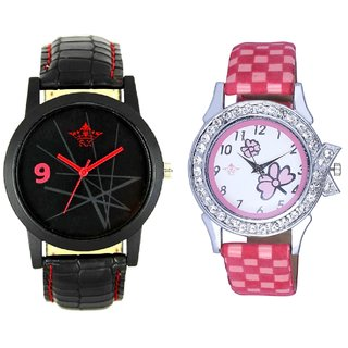 Star Art Dial And Pink Flowers Leather Strap Analogue Watch By SCK