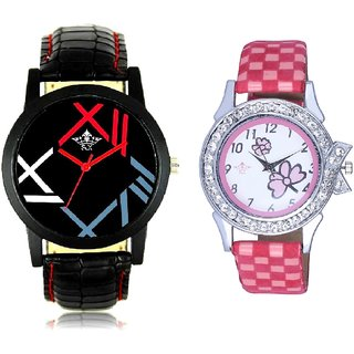 Roman Digit And Pink Flowers Leather Strap Analogue Watch By SCK