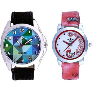 Sky Colour Art And Red Leather Strap Analogue Watch By SCK
