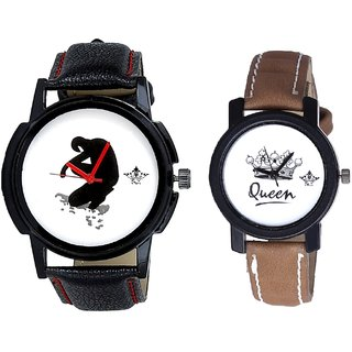 Boken Heart Man And Queen Leather Strap Analogue Watch By SCK
