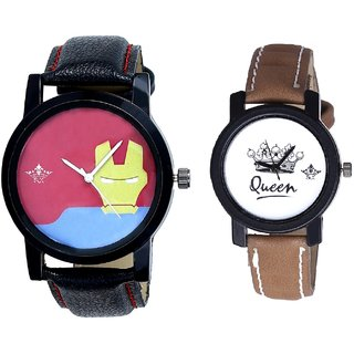 Tony Stark Face And Queen Leather Strap Analogue Watch By SCK