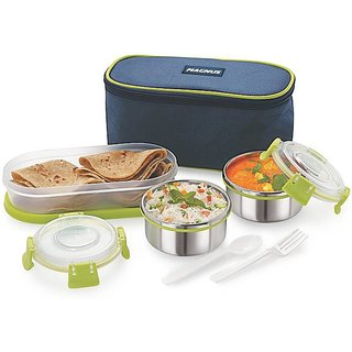 Bincy Stainless Steel Elegant Flat 2 Lunch Box Air tight Microwave Safe and Leak Proof with spoon 2 Containers Lunch Box  (950 ml)