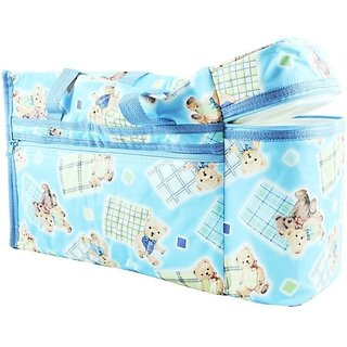 Wishkey Premium Multi Purpose Teddy Bear Printed Blue Nursery Bag