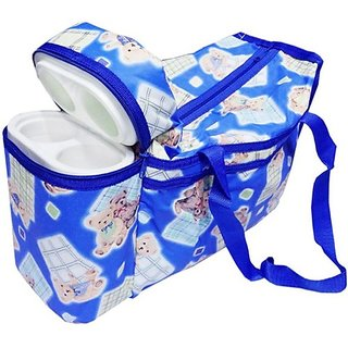 Wishkey Premium Multi Purpose Teddy Bear Printed Deep Blue Nursery Bag