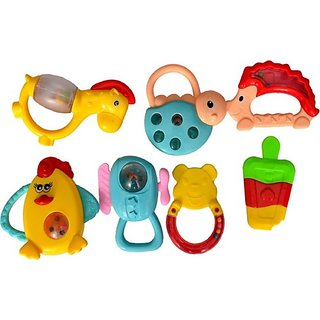 Wishkey Set of 7 Pcs with Various Exciting Rattle Toys for New Borns & Infants Rattle