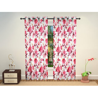 Beautiful Digital Floral Prints high quality Long Door Eyelet Curtains Set Of 2 Pc 4 x 9 Feet