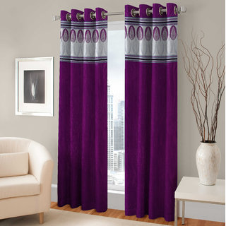 Beautiful Long Crush Patch Window And Door Curtains (Set of 2)- 4 X 7 feet