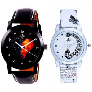 Shining Heart Dial And White Peacock Feathers Girls Analogue Watch By Harmi Exim