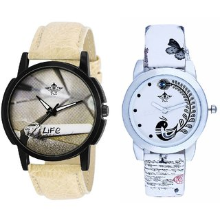 Life With Smoke And White Peacock Feathers Girls Analogue Watch By Harmi Exim