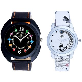 Black Dial Coloring Chain And White Peacock Feathers Girls Analogue Watch By Harmi Exim