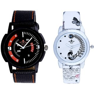 Red-Black Dial And White Peacock Feathers Girls Analogue Watch By Harmi Exim