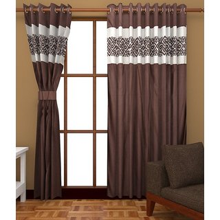Beautiful Long Crush Patch Window And Door Curtains Set Of 2 4 X 5 Feet