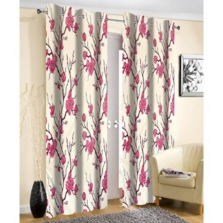 Beautiful Long Crush Print Window And Door Curtains Set Of 2 4 X