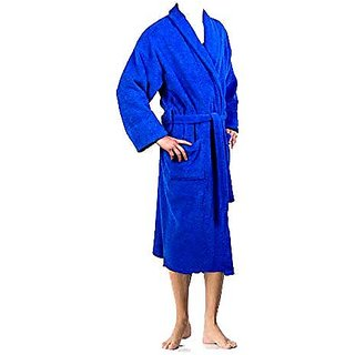 Bath Robe/ Gown 100 Cotton Large Size in Blue Color