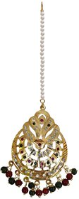 Lucky Jewellery Designer Magenta Green Color Gold Plating Stone Pearl Maang Tikka For Girls & Women