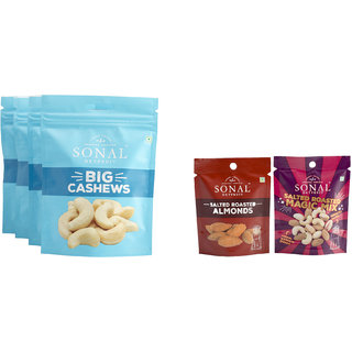 Sonal Snack Master Dry Fuit Big Cashew Nuts (Pack of 4)