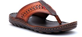Hitz Men's Brown Genuine Leather Casual Sandal