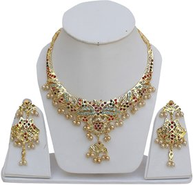 Lucky Jewellery Designer Multi Color Gold Plated Necklace With Earring For Girls & Women