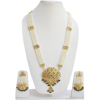 Lucky Jewellery Designer Green Color Gold Plated Pearl Layered Guluband Necklace With Earring For Girls & Women