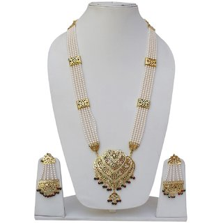 Lucky Jewellery Designer Magenta Green Color Gold Plated Pearl Layered Guluband Necklace With Earring For Girls & Women