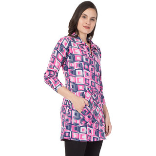 Mythya Womens Pink Checkered Long Tunic