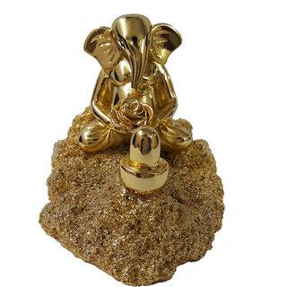 Chintamani Arts Gold Plated GANESH IDOL  GANESH IDOL  IDOL OF CAR  IDOLS For Home   Idols for Office Desk  Idol for Puja  Idols for Gifting