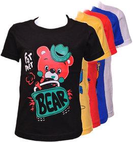 Pari  Prince Multicolour Kids Assorted Printed Round Neck Cotton T-shirt(Set Of 5)