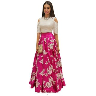 Aika Women's Arohi Pink Embroidery Benglori Silk Semi-Stiched Lehenga