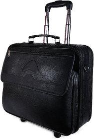 Charpe Black Genuine Leather 2 Wheeler Trolley/Weekender/Cabin/Overnight Bag
