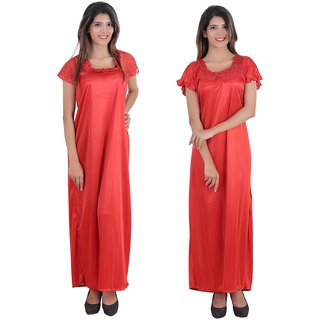Glossia Beautiful Two Satin Nighty/Gown Combo(Pack of 2) for Women/Girls(Free Size Nighty)