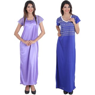 Glossia Beautiful One Satin & One Cotton Nighty/Gown Combo(Pack of 2) for Women/Girls(Free Size Nighty)