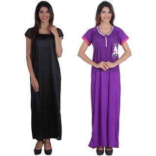 0423d341e6 ... Women Girls(Free Size Nighty). Glossia Beautiful One Satin   One Cotton  Nighty Gown Combo(Pack of 2)