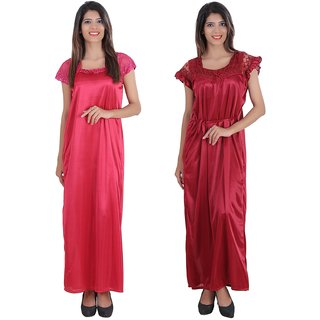 220ce29108 Buy Glossia Beautiful Two Satin Nighty Gown Combo(Pack of 2) for  Women Girls(Free Size Nighty) Online - Get 78% Off