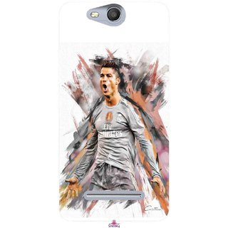 Snooky Printed 980,cristiano ronaldo fan art Mobile Back Cover of Micromax Bolt Q392 - Multi