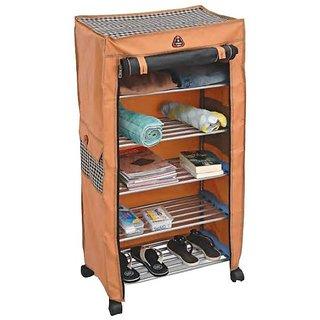 Urban Shopiee 5 Layer Multipurpose Portable Folding Shoe Rack/Shoe Shelf/Shoe Cabinet/Clothes Rack With Wardrobe Cover
