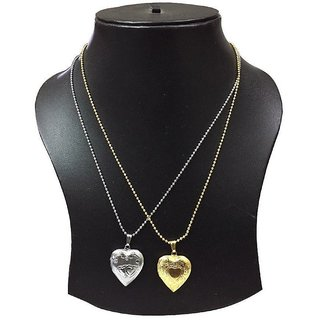 Combo of Heart Shaped Locket photo pendant with Ball Chain Gold + Silver