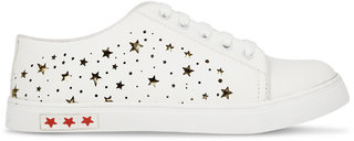 Styslish Step White Star Lace Casual Shoes