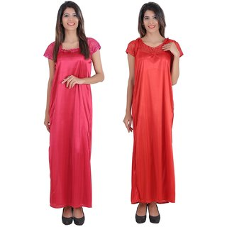 61f91b8f5d Buy Glossia Beautiful Two Satin Nighty Gown Combo(Pack of 2) for ...