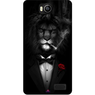 Snooky Printed 1030,liON BLACKSUIT Mobile Back Cover of Intex Aqua 4.5e - Multi